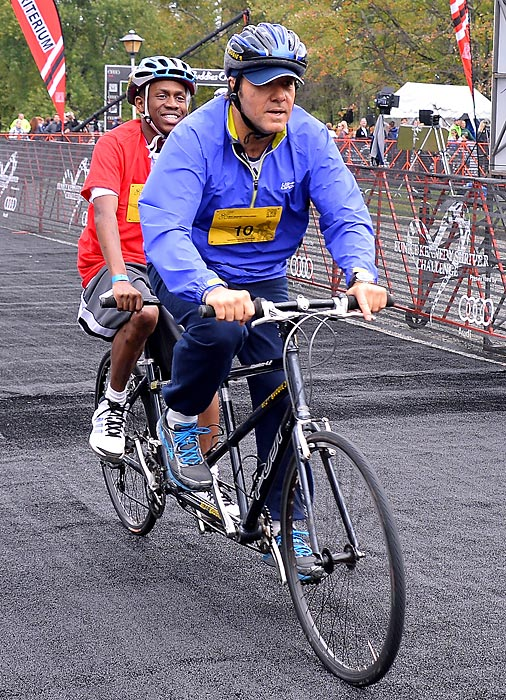 The enigmatic thespian (right) was on a roll in the Friendship Races at the Audi Best Buddies Challenge in Leesburg, Va. You can see what we think is more of Spacey's cycling tour here.