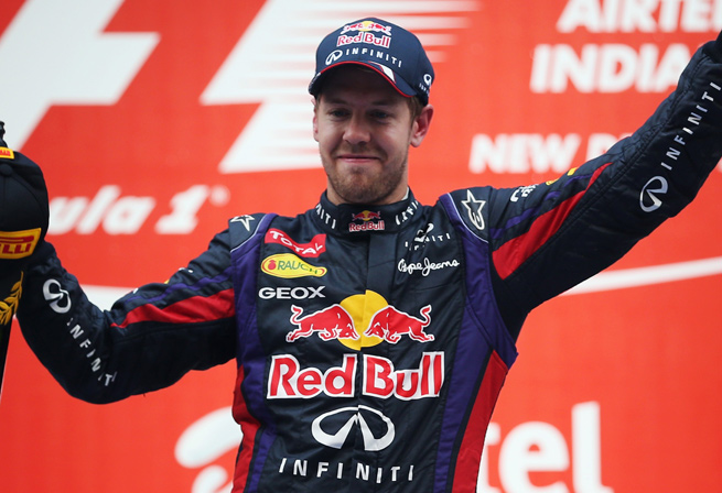 Sebastian Vettel becomes only the third driver ever to win four straight Formula One championships.