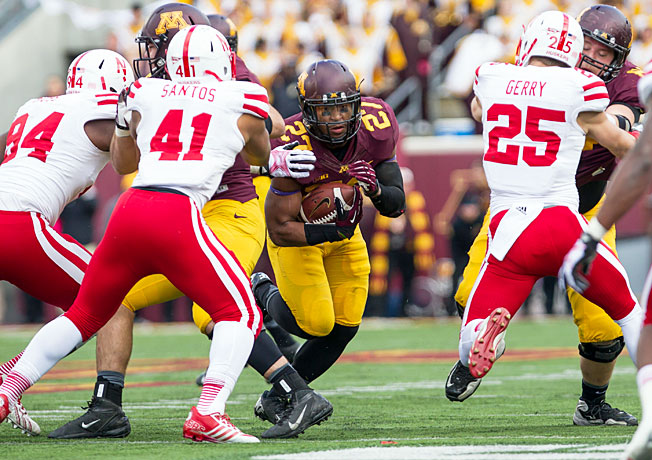 David Cobb (27) rushed for 138 yards to help Minnesota defeat Nebraska for the first time since 1960.