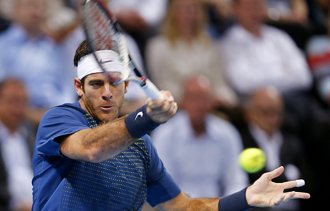 Juan Martin del Potro defeated Roger Federer for the Swiss Indoors title for the second straight year.