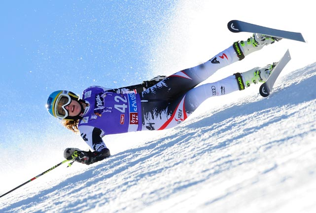 Carmen Thalmann of Austria crashes during the Audi FIS Alpine Ski World Cup Giant Slalom.