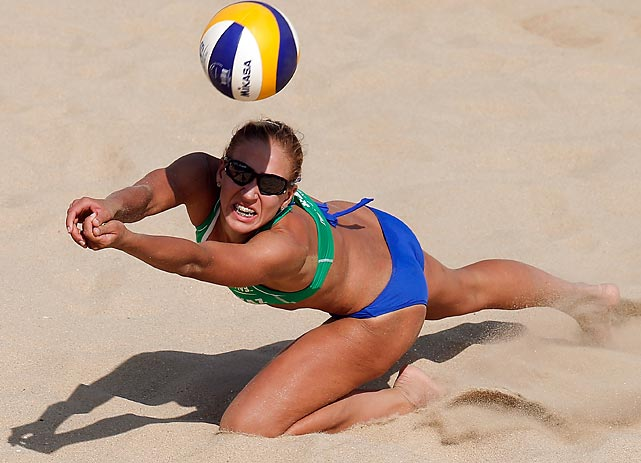 Irina Tsimbalova of Kazakhstan dives for a ball during the 2013 FIVB World Tour Xiamen Grand Slam Quarterfinals.