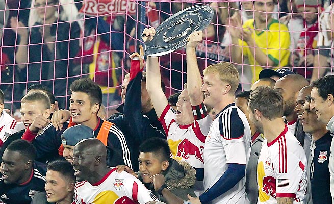 The Red Bulls claimed their first major trophy by clinching the Supporters' Shield on Sunday.