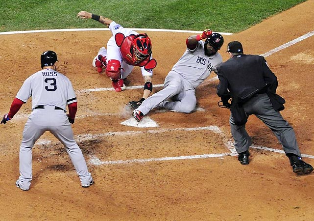 David Ortiz scores on a Stephen Drew sacrifice fly in the fifth inning.
