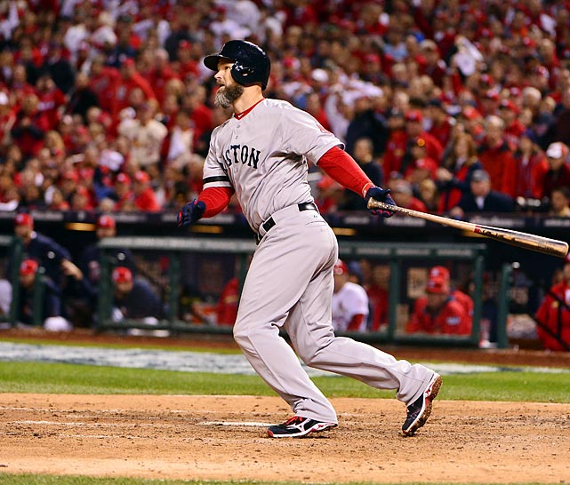 Red Sox catcher David Ross doubles in Xander Bogaerts in the seventh inning of Game 5.