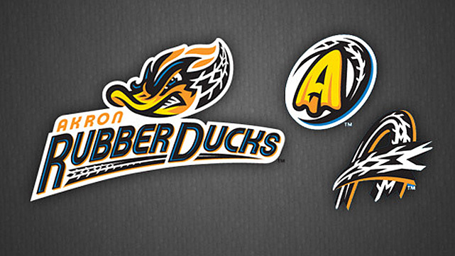 The Cleveland Indians' AA affiliate, once the Akron Aeros, is now officially the Akron RubberDucks. The name apparently derives from Akron's rich rubber-manufacturing history (though mostly for tires, not ducks).
