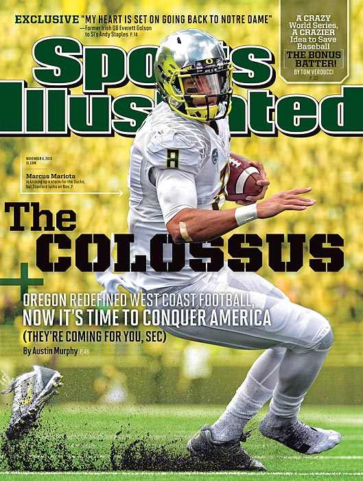 Marcus Mariota has kept the pace of Oregon's Blur offense, despite Chip Kelly's departure for the NFL. When his Ducks take on Stanford Nov. 7, it won't just be a play-in for the Pac-12 title: it will be a clash of styles. Austin Murphy dives into the rivalry to take a look at what makes the two schools so different. SI has one regional cover this week for the World Series.