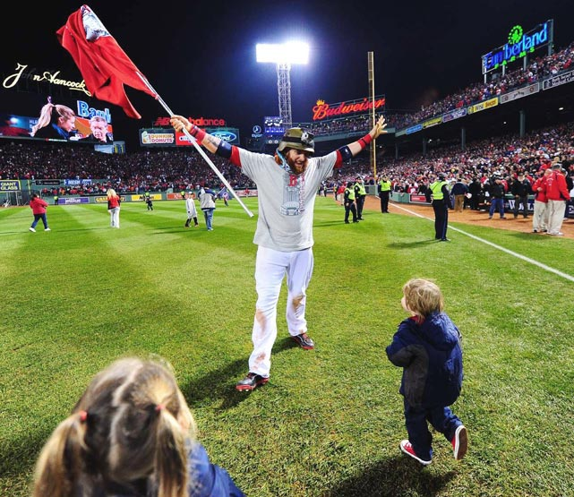 Jonny Gomes celebrates after the game.