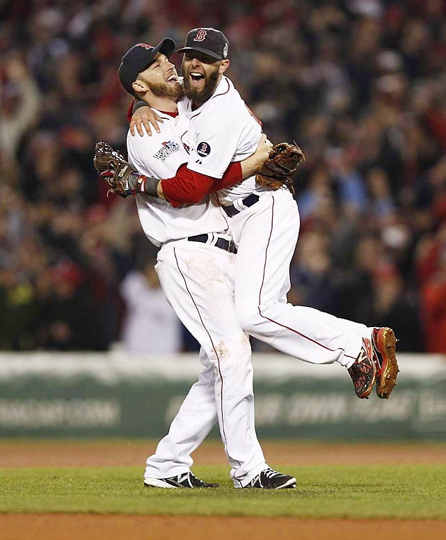 Dustin Pedroia celebrates with Jacoby Ellsbury. Pedroia and Ellsbury were two of the four holdovers from the 2007 World Series team.