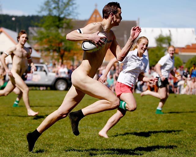 The Nude Blacks vs. Australia Invitational match at Alhambra Union Rugby Ground in Dunedin, New Zealand is one of the more revealing events in sports. (Gotta love the Eliot Spitzer touch in the uniform department...)