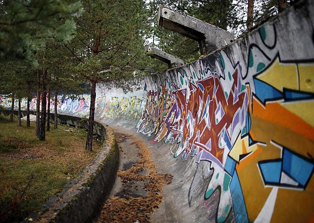 Alas, the site of the 1984 Winter Games on Mount Trebevic has been abandoned and left to crumble into graffiti-covered oblivion. The bobsled and luge tracks as well as the Mount Igman ski jumping course are slowly decomposing before our very watering eyes.