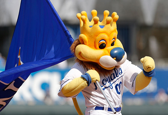 The Royals' mascot, Sluggerrr, hit a fan with a foil-wrapped hot dog in a Sept. 2009 game.