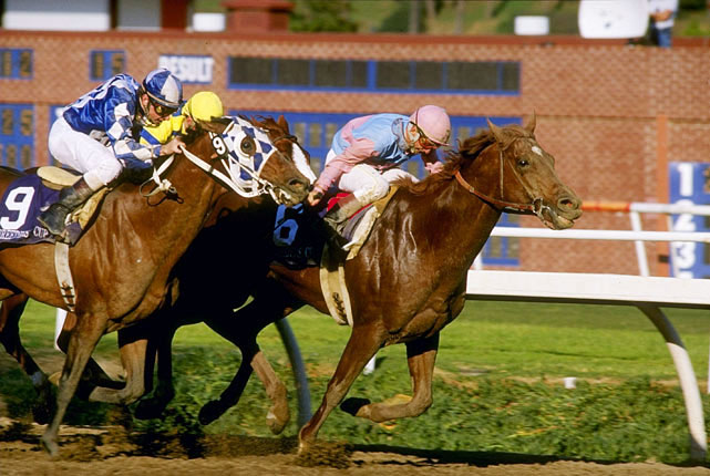 The 1986 Kentucky Derby (6) winner prevailed in an epic stretch duel to win the Classic. Alysheba (9), the '87 Derby winner, came flying late but Ferdinand held him off at the wire by a nose.
