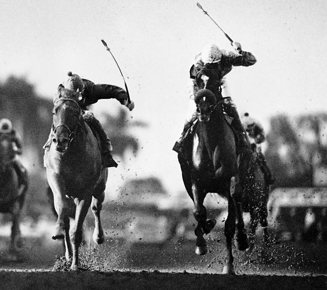 The rivalry between dark bay colt and Easy Goer (far left) is one of the greatest in the history of racing. The two traded blows during the '89 Triple Crown, with Sunday Silence (right) holding off Easy Goer in both the Kentucky Derby and the Preakness before the big chestnut romped in the Belmont. Their meeting in the Breeders' Cup Classic at Gulfstream Park on Nov. 4 did not disappoint. Sunday Silence ran near the front before taking a late lead, then held off the charging Easy Goer to win by a neck.