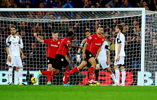Steven Caulker scored Cardiff's only goal in their win over Welsh rivals Swansea City.