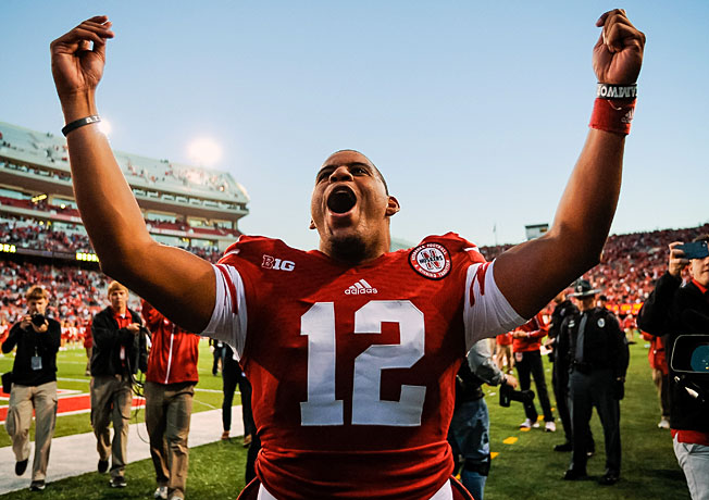 Nebraska's Ron Kellogg III celebrates after throwing the game-winning Hail Mary to beat Northwestern.