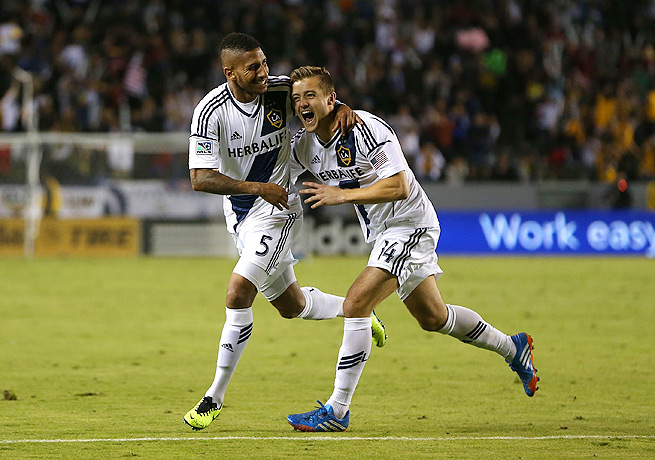 Sean Franklin (left) gave the Galaxy the only goal it needed with his strike from long distance.