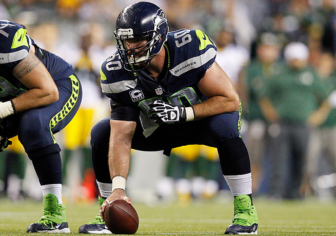 Max Unger has appeared at center in seven of the Seahawks' nine games so far this season.