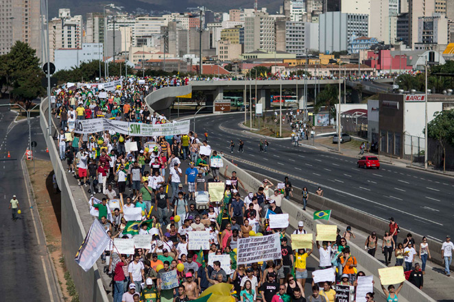Civil unrest in Brazil, like the protest pictured above during this past summer's Confederations Cup, has resulted in the cancellation of a major pre-World Cup event.