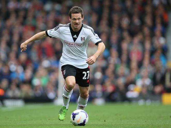 Fulham's Sascha Riether will miss the Cottagers' next three games after being banned for stamping on Manchester United's Adnan Januzaj.