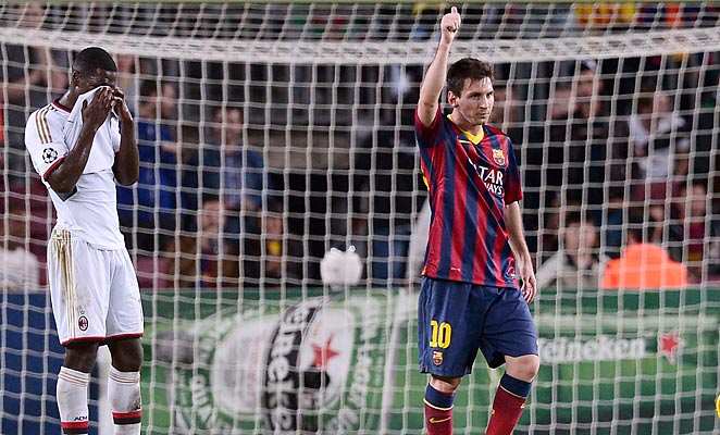 Lionel Messi broke a three-game scoreless streak with two goals against AC Milan on Wednesday.