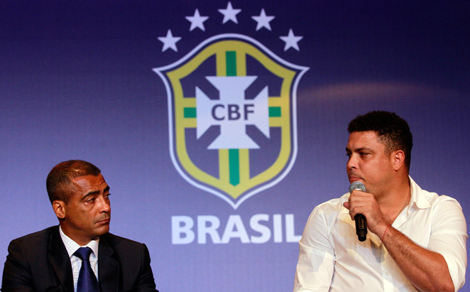 Former Brazil national team stars Ronaldo (right) and Romario, pictured above in 2011, are at odds over the Brazil World Cup and its meaning for the country.