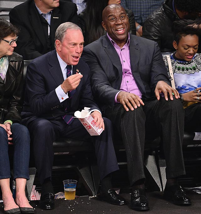 Noo Yawk's newly unemployed hizzoner Mr. Bloomberg now has all the time in the world to yuk it up at sporting events like Nets games at Barclays Center in Brooklyn.