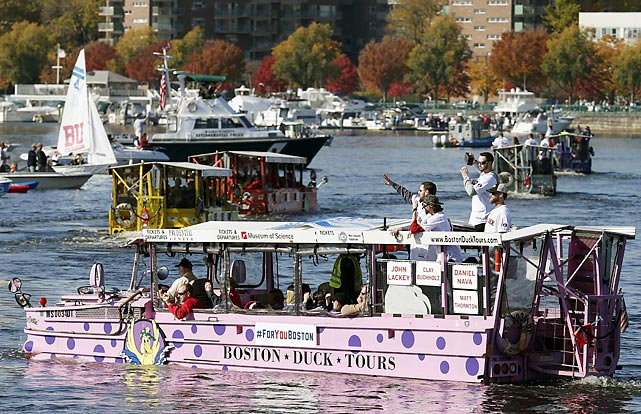 Their third World Series title of the past nine years well in hand, the Red Sox saluted the faithful from Duck Boats on the Charles River during a rollin' and floatin' victory parade in good old Beantown, where the beanball was allegedly invented many years ago.