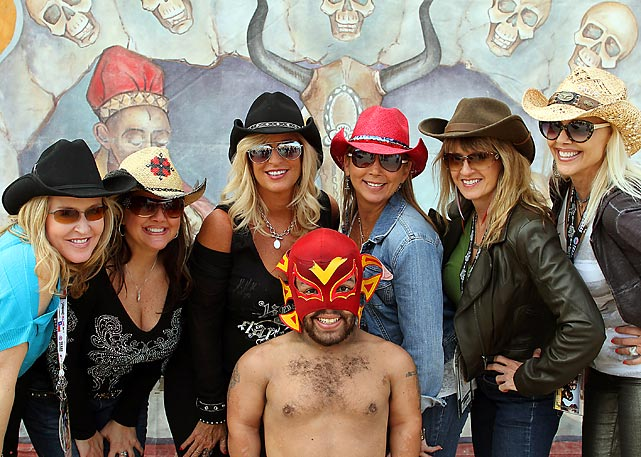 Fans at Texas Motor Speedway's freak show party before NASCAR's Texas 500 rubbed elbows with the legendary Strongbad.