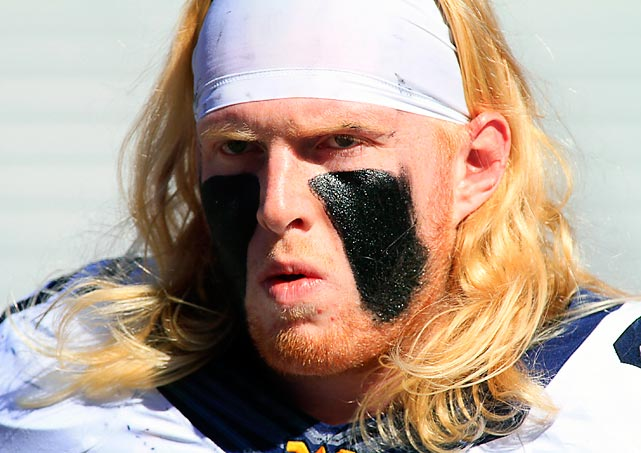 The West Virginia Mountaineers offensive linesman sported tire tracks after being bull-rushed during a battle with those pesky TCU Horned Frogs at Amon G. Carter Stadium in Fort Worth, TX.