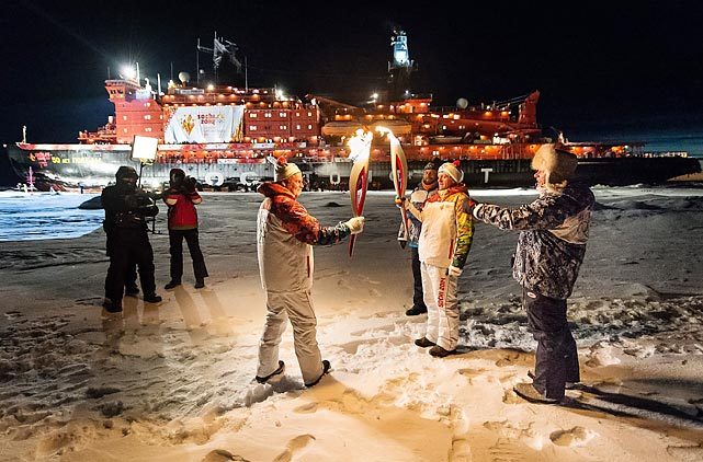 "One reason the polar ice caps are melting is that for the first time in history the Olympic flame was brought to the North Pole, home of Santa's workshop, by the nuclear-powered icebreaker 50 Let Pobedy (roughly translated as ""50 Years of Victory"") as part of the relay to the 2014 Sochi Winter Games. The resulting heat caused sea levels to rise in New York City by 12 feet."