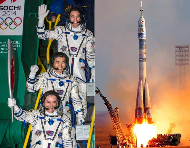 The famed torch was acutally ignitied by Japanese astronaut Koichi Wakata (center), Russian cosmonaut Mikhail Tyurin (front) and U.S. astronaut Rick Mastracchio during their blast-off to the International Space Station from the Russian-leased Kazakh Baikonur cosmodrome. The torch was then taken into space, where it was used to warm the cabin and toast marshmallows before being sent back to Earth.