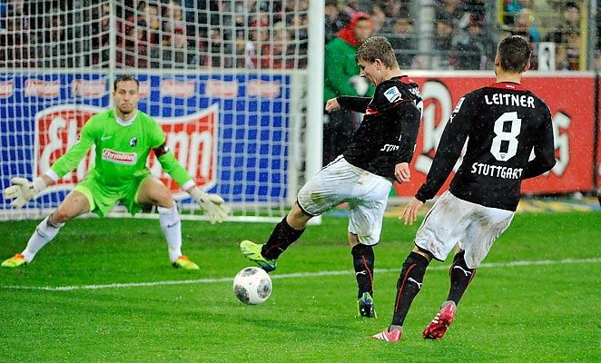 Timo Werner (left) became the youngest player (17) in Bundesliga history to score two goals in a match.