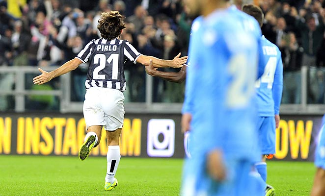 Andrea Pirlo scored a beautiful free kick as Juventus topped Napoli 3-0 to cut Roma's lead.