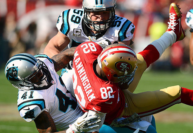 The Panthers stifled the 49ers on offense, holding them to just 45 yards in the second half.