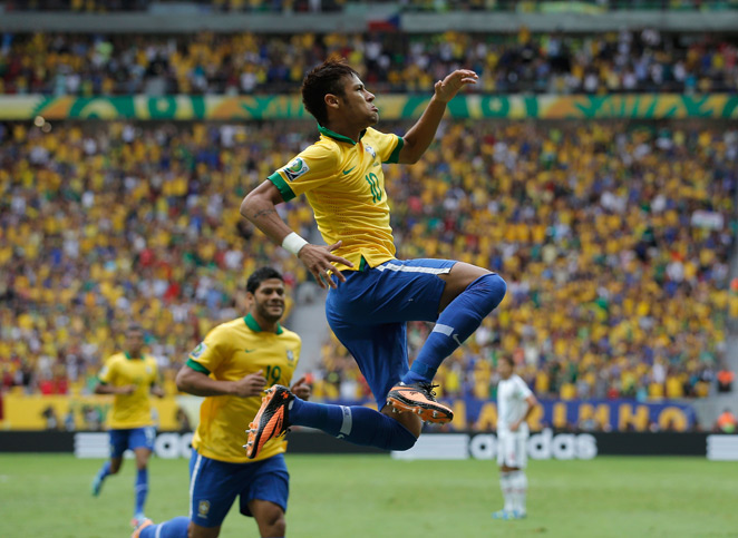Neymar, pictured above celebrating his wondergoal against Japan, was nominated for the FIFA Puskas award for Goal of the Year.