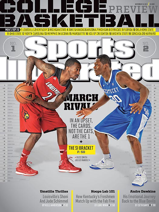 The state of Kentucky is loaded with basketball talent. It's entirely possible that whoever wins the title of Best Team in the State will win the corresponding Best Team in the Nation designation. Defending champ Louisville is led by senior guard Russ Smith, who's flanked by a whole bunch of key returning cogs. On campus some 79 miles away, Kentucky could have seven players picked in the first round of the NBA draft, including freshmen Julius Randle, James Young, and the Harrison twins -- Andrew and Aaron. SI details that and more in this year's preview issue, of which there are four regional covers.