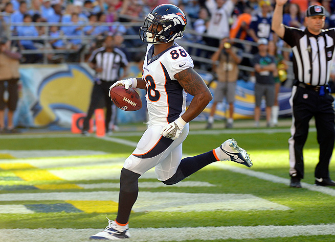 Demaryius Thomas trotted into the end zone three times against the Chargers in Week 10.