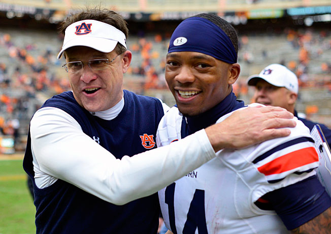 Behind first-year coach Gus Malzahn (left) and QB Nick Marshall, Auburn is in contention for a BCS berth.