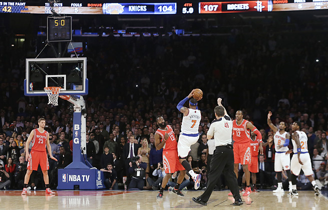 Carmelo Anthony's potential four-point play was disallowed with a foul called before the shot.