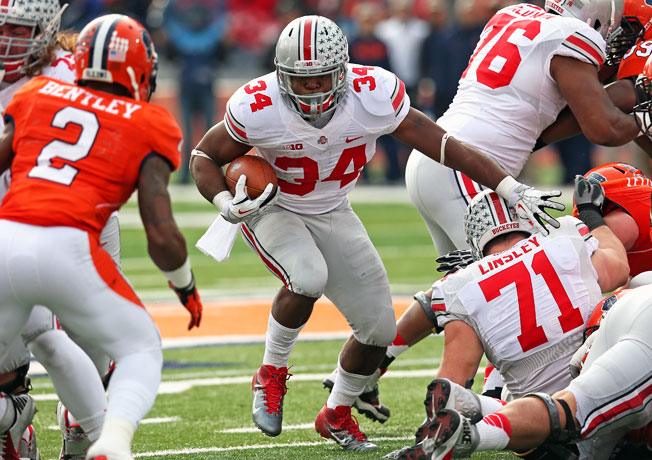 Ohio State's Carlos Hyde carried 24 times for 246 rushing yards and four touchdowns against Illinois.