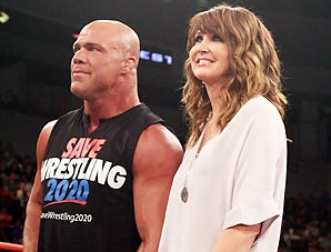 Dixie Carter arm-in-arm with 1996 Olympic wrestling gold medalist and TNA superstar Kurt Angle.