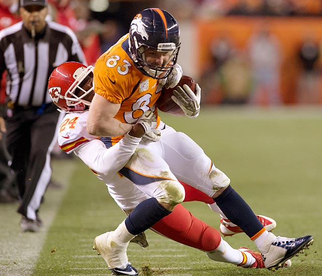 Broncos wide receiver Wes Welker fights for extra yardage. Welker suffered a concussion in the game, but Denver still handed Kansas City its first loss of the season, 27-17.