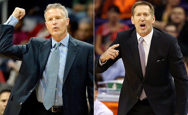 The 76ers' Brett Brown (left) and Suns' Jeff Hornacek have been competitive with rebuilding teams.