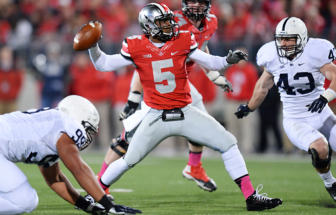 Despite boasting an undefeated record, Braxton Miller (5) and Ohio State are losing ground in the polls.