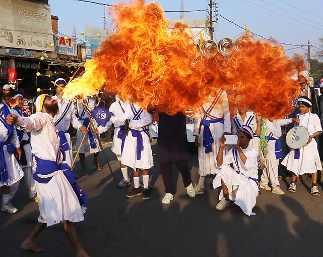 The curry was five-alarm spicy and the candles on the cake were lit in Bhopal, India, where the earthly arrival of the first Sikh guru was celebrated on November 17.