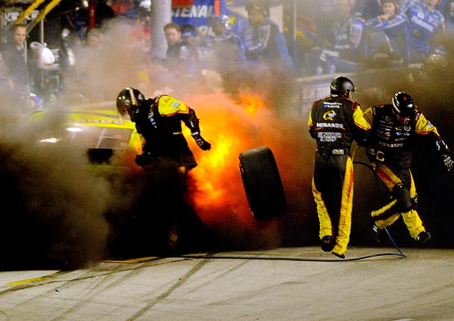 Hot car: Paul Menard's Chevy blew a tire in rather spectacular fashion at Homestead-Miami Speedway. No one was hurt and the blaze was extinguished before emergency crews arrived with the fire retardant marshmallows.