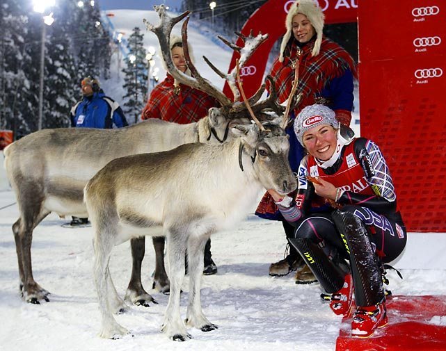 Into each athlete's life a little reindeer must fall, especially if you're Mikaela Shiffrin of the USA, who took first place at the big event in Levi, Finland.