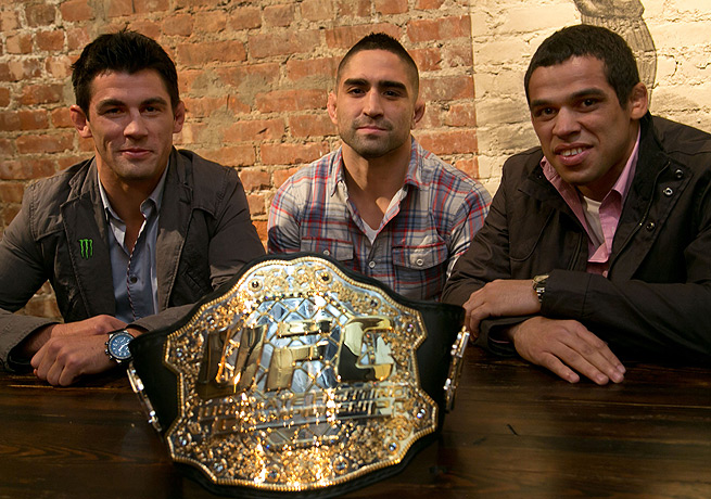 Dominick Cruz (left), Ricardo Lamas and Renan Barao stumped for UFC in New York on Wednesday.