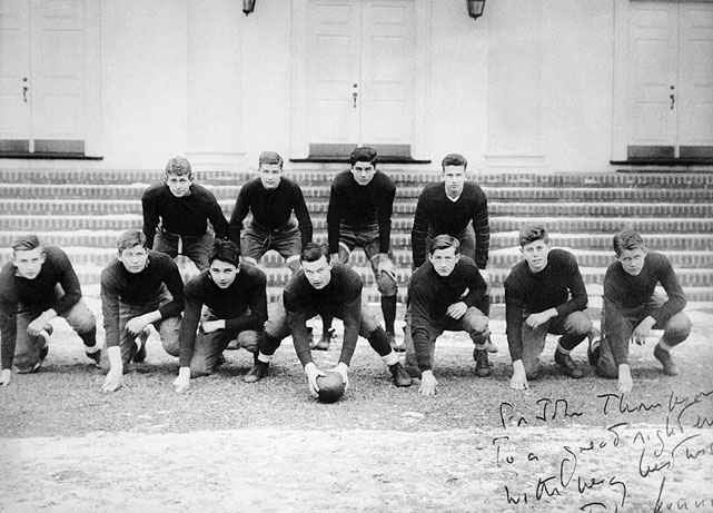 "At Choate Hall prep school in Wallingford, Conn., in 1932, John F. Kennedy (second from right) played left end and tackle for the junior boys. In the autographed picture to teammate John R. Thompson (far left), Kennedy wrote, ""To a great right end, with every best wish."""